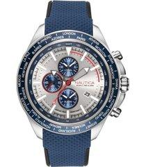nautica men's napobp902 ocean beach chrono navy/silver silicone strap watch