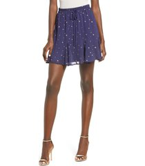 women's row a foiled star tie waist miniskirt, size x-large - blue