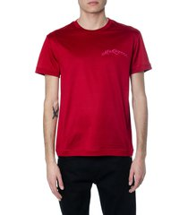 red cotton t-shirt with mcqueen logo embroidery