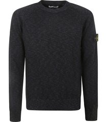 stone island ribbed logo patched sweater