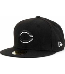 new era cincinnati reds black and white fashion 59fifty cap