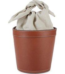 staud women's britt leather & canvas bucket bag - brown