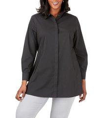 plus size women's foxcroft cici stretch tunic shirt, size 18w - black