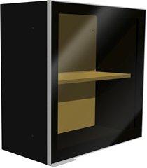 armário aéreo fit lado esquerdo com porta em vidro 60x60x31,8cm preto