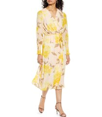 halogen(r) print long sleeve faux wrap midi dress, size medium in pink peach/yellow floral at nordstrom