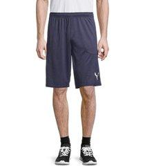 puma men's elasticized-waist logo shorts - blue - size s