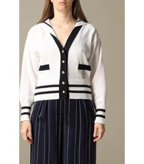 hilfiger collection cardigan hilfiger collection cardigan with sailor-style cape