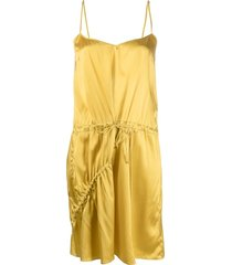almaz asymmetric satin drawstring dress - yellow