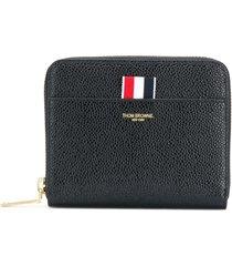 thom browne pebbled leather short zip-around purse - black