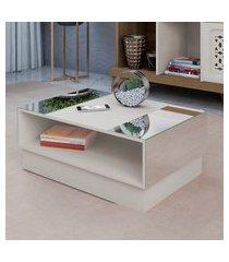 mesa de centro artely detroit com vidro off white