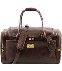 tuscany leather tl141296 tl voyager - borsone viaggio in pelle con tasche laterali testa di moro