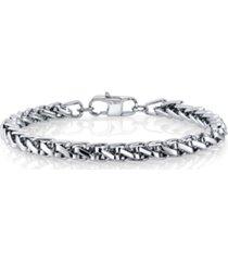 """he rocks 6mm wheat chain stainless steel bracelet, 8.5"""""""
