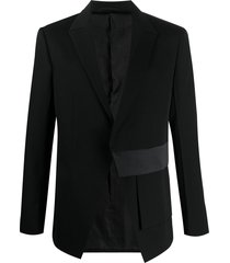 1017 alyx 9sm asymmetric satin-panel blazer - black