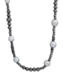 """cultured baroque freshwater pearl (9-1/2-10mm) beaded 39"""" statement necklace in black rhodium-plated sterling silver"""