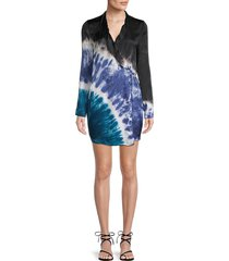 young fabulous & broke women's tie-dyed wrap blazer dress - black - size s