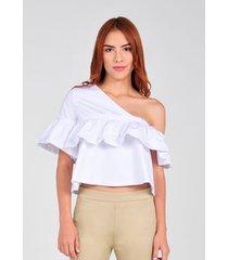 blusa de una manga de mujer vestimenta vf173-1102-547 blanco