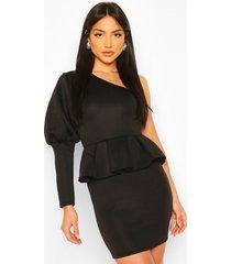 one shoulder puff sleeve peplum mini dress, black