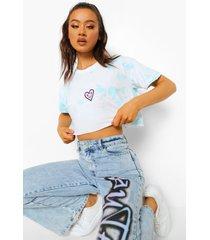 kort tie dye hartjes t-shirt, pale blue