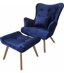 fotel skandynawski z podnóżkiem french velvet