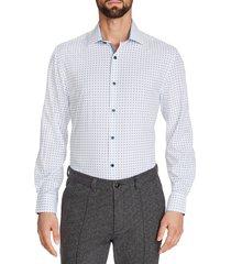 men's big & tall w.r.k. trim fit geo performance stretch dress shirt, size 18.5 - 35/36 - white