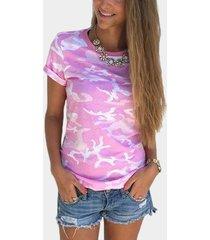 crew cuello camisetas con estampado de camuflaje en rosa