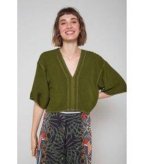 blusas e camisas oh, boy! blusa ampla decote v verde