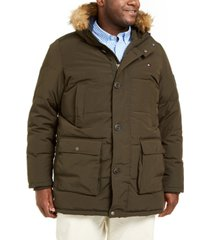 tommy hilfiger men's big & tall long parka jacket with faux fur hood
