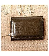 leather trifold wallet, 'sierra clay' (mexico)