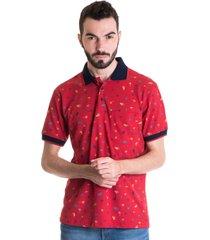 camisa polo masculina manga curta 33606 vermelho