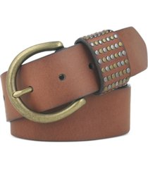 frye studded loop leather belt