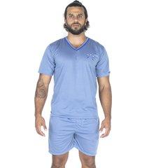 pijama bravaa modas manga curta 008 azul claro