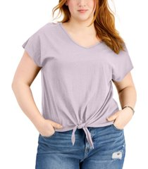 style & co plus size tie-front t-shirt, created for macy's