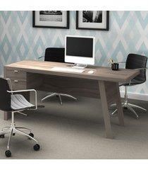 mesa para escritório 2 gavetas me4122 carvalho/pés fendi - tecno mobili