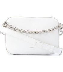 furla bolsa tiracolo com alça em corrente - branco