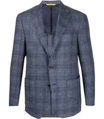 canali woven check blazer - blue