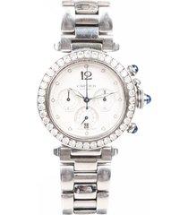 cartier pasha de cartier 38mm stainless steel diamond watch silver sz: 38mm