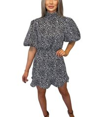 ax paris printed puff sleeve skater dress