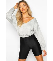 v neck crop sweater, grey marl