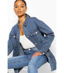 denim longline shirt jacket, mid blue