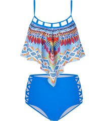 tribal print criss-cross padded tankini swimsuit