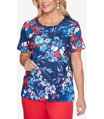 alfred dunner petite anchor's away abstract floral-print top