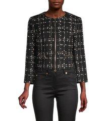 ted baker london women's metallic bouclé jacket - black - size 3 (8)