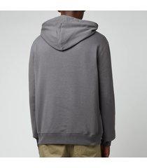lanvin men's paris embroidered hoodie - elephant grey - xl