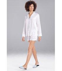 natori feathers satin essentials shorts pajamas, women's, blue, size xl natori