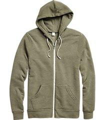 alternative apparel modern fit rocky eco-fleece hoodie army green