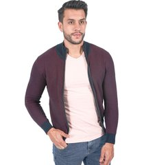 suéter para hombre tejido con cremallera morado