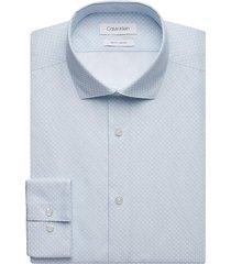 calvin klein men's sapphire white dot slim fit dress shirt - size: 20 38/39