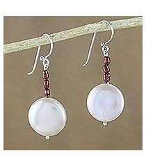 cultured pearl dangle earrings, 'cute moon' (thailand)