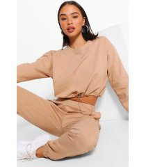 crop sweatshirt and jogger tracksuit, stone