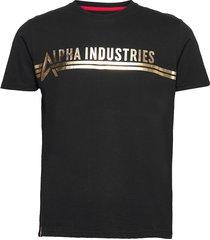 alpha industries t foil print t-shirts short-sleeved svart alpha industries